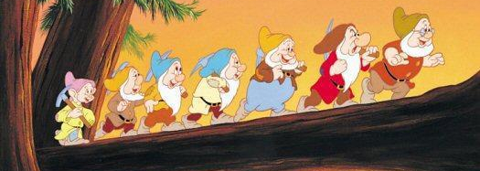 The seven dwarves whistling while they work.